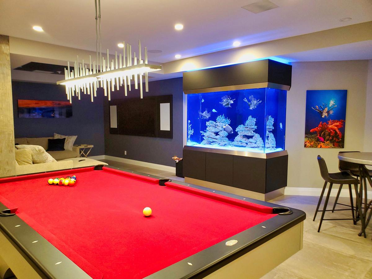 Man cave aquarium in a New York basement