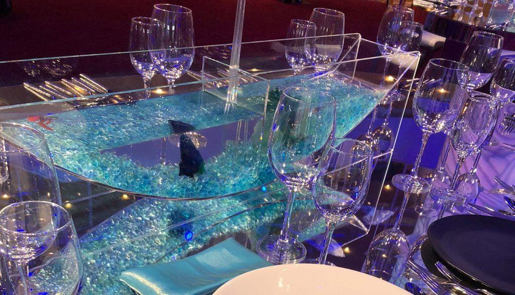 Three-quarter view of tabletop fish tank