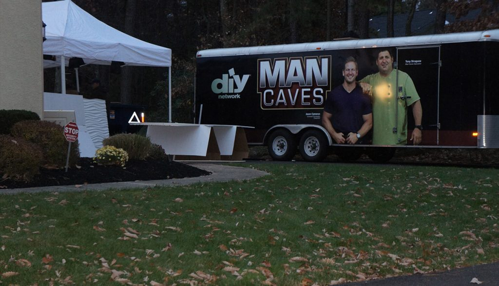 Man Caves trailer on location
