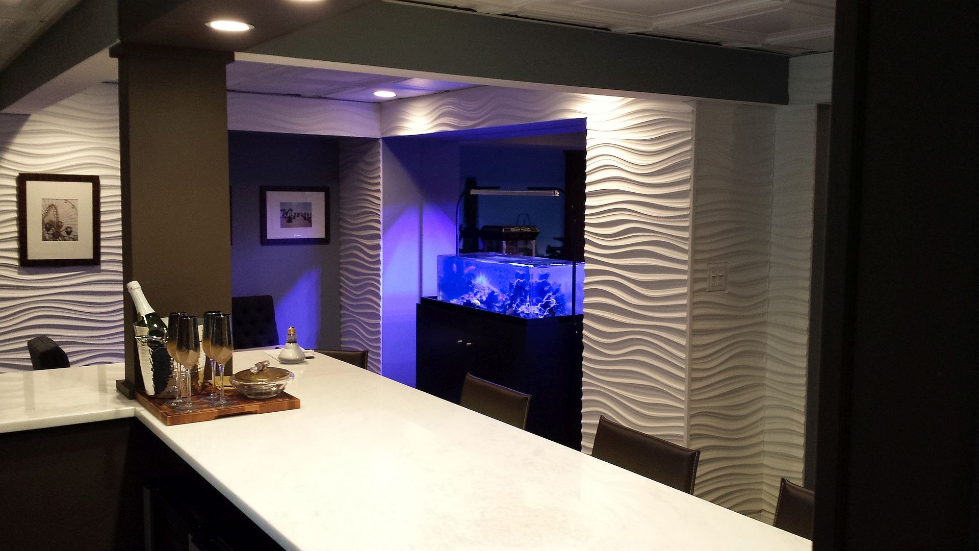 The man cave aquarium on completion of the project